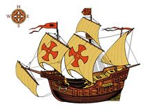 Santa Maria Old ship. Vector illustration Royalty Free Stock Photography