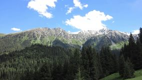 Karakol Glen Defile. Snow capped mountains and forest with blue sky background clouds stock video footage