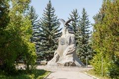 Karakol Issyk Kul, Kirgizistan - Augusti 12, 2016: Monument till th Arkivbild