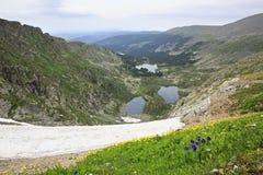 Karakol lakes from the top of ridge Iolgo Royalty Free Stock Photos