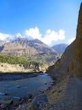 Karakoram Highway in Summer. A Narrow Path of the Karakoram Highway along the Indus River Royalty Free Stock Image