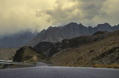 Karakoram Highway, Passu, Gilgit, Pakistan. View or Karakoram Highway near Passu Pakistan. Passu is a small village on the Karakoram Highway, beside the Hunza Royalty Free Stock Photos