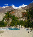 Karakoram and Indus River in Summer Stock Photography