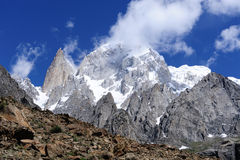 Karakoram Mountains (Hunza Peak and Lady Finge). Taken from Ultar meadow, Hunza Valley, Pakistan Stock Photos