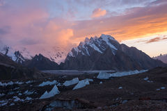 Karakoram range at sunset, Northern Pakistan. Baltoro glacier and Karakoram mountain range at sunset, Northern Pakistan Stock Photo