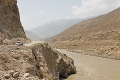 Karakorum Highway along the Indus River Stock Image