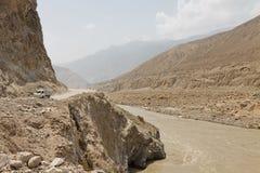 Karakorum Highway along the Indus River. In Northern Pakistan Stock Image