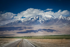 Karakorum Highway. Going through incredible mountain scenery, Xinjang province, China Stock Image