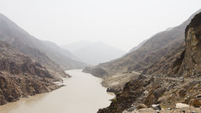 Karakorum Highway and Indus River Royalty Free Stock Images