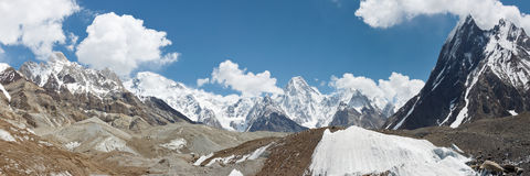 Karakorum Mountains and Glacier Panorama Stock Photo