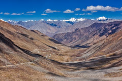 Karakorum Range and road in valley, Ladakh, India Royalty Free Stock Images