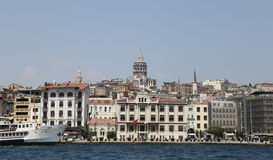 Karakoy and Galata Tower in Istanbul City Stock Image