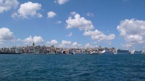 Karakoy kabatas from sea view. Istanbul galata kabatas Stock Photos