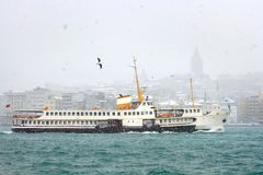 Karakoy port in snow Stock Photography