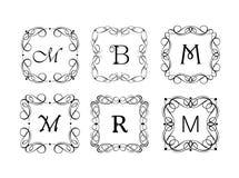 Karaktärsteckning- och ramsamling för smyckenlager som gifta sig design, menykort, restaurang, kafé, hotell, logomallar, monogram Fotografering för Bildbyråer