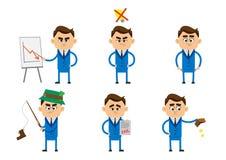 Karakter die van zakenman in mislukkingsconcept, alleen in depressie zitten Stock Foto's
