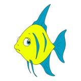 Karakter droevige vissen Vectorbeeldverhaalvissen Royalty-vrije Stock Foto's