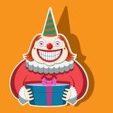 Karakter grappige clown in een gestreept GLB die een gift houden Vector beeld stock illustratie