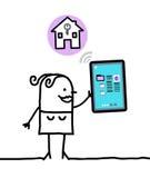 Karakter met tablet - huisvesting vector illustratie