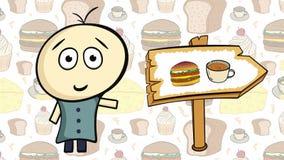 Karakter op voedsel en snel voedsel royalty-vrije illustratie