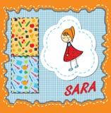 Karakter Sara Jonge moeder met gesloten ogen en glimlach vector illustratie