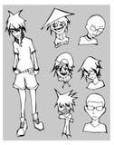 karakter schetstekening - illustratie eps10 Stock Foto's