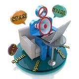 Karakter spammer met een megafoon en een bellentoespraak met spam Royalty-vrije Stock Foto
