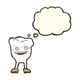 karakter van de beeldverhaal het gelukkige tand met gedachte bel Royalty-vrije Stock Fotografie