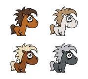 Karakter van de beeldverhaal het leuke poney in diverse kleuren royalty-vrije illustratie