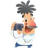 Karakter van de beeldverhaal klikt het gekke fotograaf bij dslrcamera het nemen Stock Foto