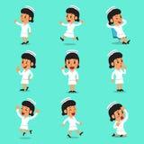 Karakter van de beeldverhaal stelt het vrouwelijke verpleegster stock illustratie