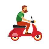 Karakter van de Hipster het jonge gebaarde mens met retro rode autoped op de witte achtergrond Stock Foto's