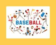 Karakter van de de spelermens van honkbalmensen het vector in vangerssportkleding en beslagen baseballbat of bal voor de concurre royalty-vrije illustratie