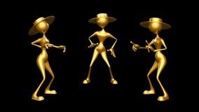 Karakter van de vrouwen 3D Pret 2 videolijnen - op Achtergrond en op Alpha Channel stock illustratie