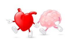 Karakter van hart het belangrijke hersenen hand in hand en samen lopend Stock Afbeeldingen