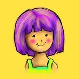 Karakter van het glimlach het Leuke Meisje Royalty-vrije Stock Afbeelding