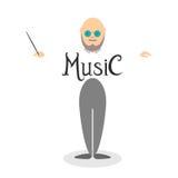 Karakter van musicusleider Stock Foto's
