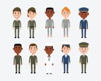 Karakterillustraties die Militaire Beroepen afschilderen vector illustratie