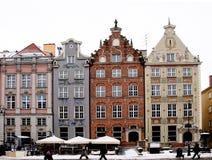 Karakteristisk fasad av byggnader i stad av Gdansk Royaltyfria Bilder