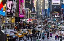 Karakteristisk sikt av Times Square arkivbild