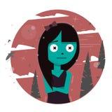 Karaktermeisje in het bos Boze en boze kind Illustratie voor de sprookjes en de boeken vector illustratie