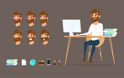 Karakterontwerp Zakenman die aan bureaucomputer met verschillende emoties op gezicht werken Royalty-vrije Stock Afbeeldingen