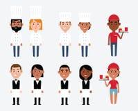 Karakters die Cateringsberoepen afschilderen vector illustratie