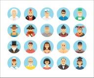 Karakters en personenpictogrammeninzameling Pictogrammen geplaatst illustrerend mensenberoepen, levensstijlen, naties en culturen Stock Afbeeldingen