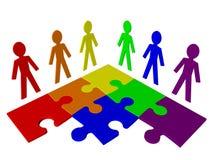 Karakters en raadsel - commercieel team, groepswerk Stock Foto