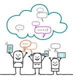 Karakters en wolk - sociaal netwerk royalty-vrije illustratie