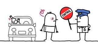Karakters - politiecontrole - alcohol stock illustratie