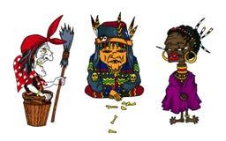 Karakters van beeldverhaal de oude vrouwen van sprookjes over de hele wereld Stock Fotografie