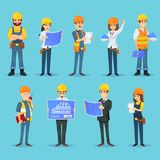 Karakters van bouwers en aannemers stock illustratie