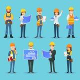 Karakters van bouwers en aannemers royalty-vrije illustratie